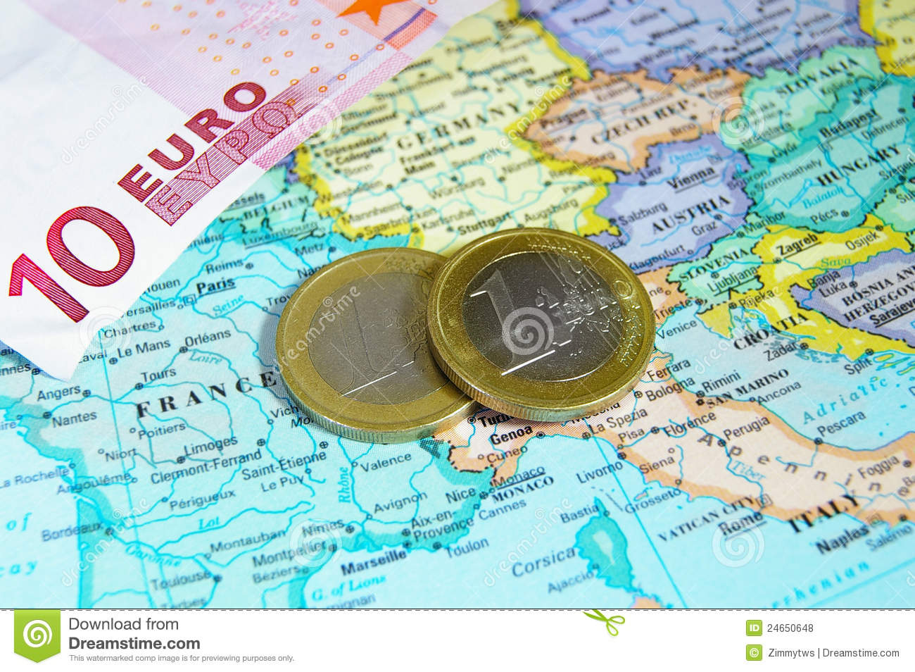 Europe and Euro coins