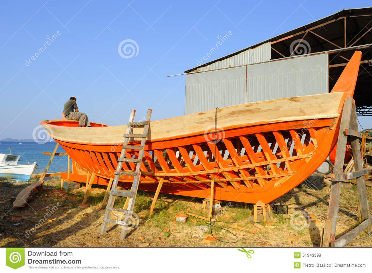 Europe greece halkidiki wooden boat building editorial for Build fishing boat