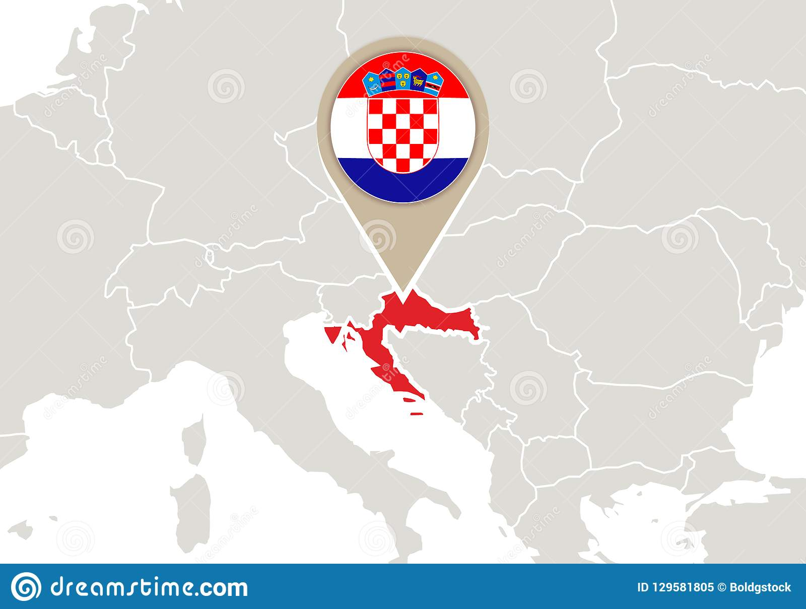 Picture of: Croatia On Europe Map Stock Vector Illustration Of International 129581805