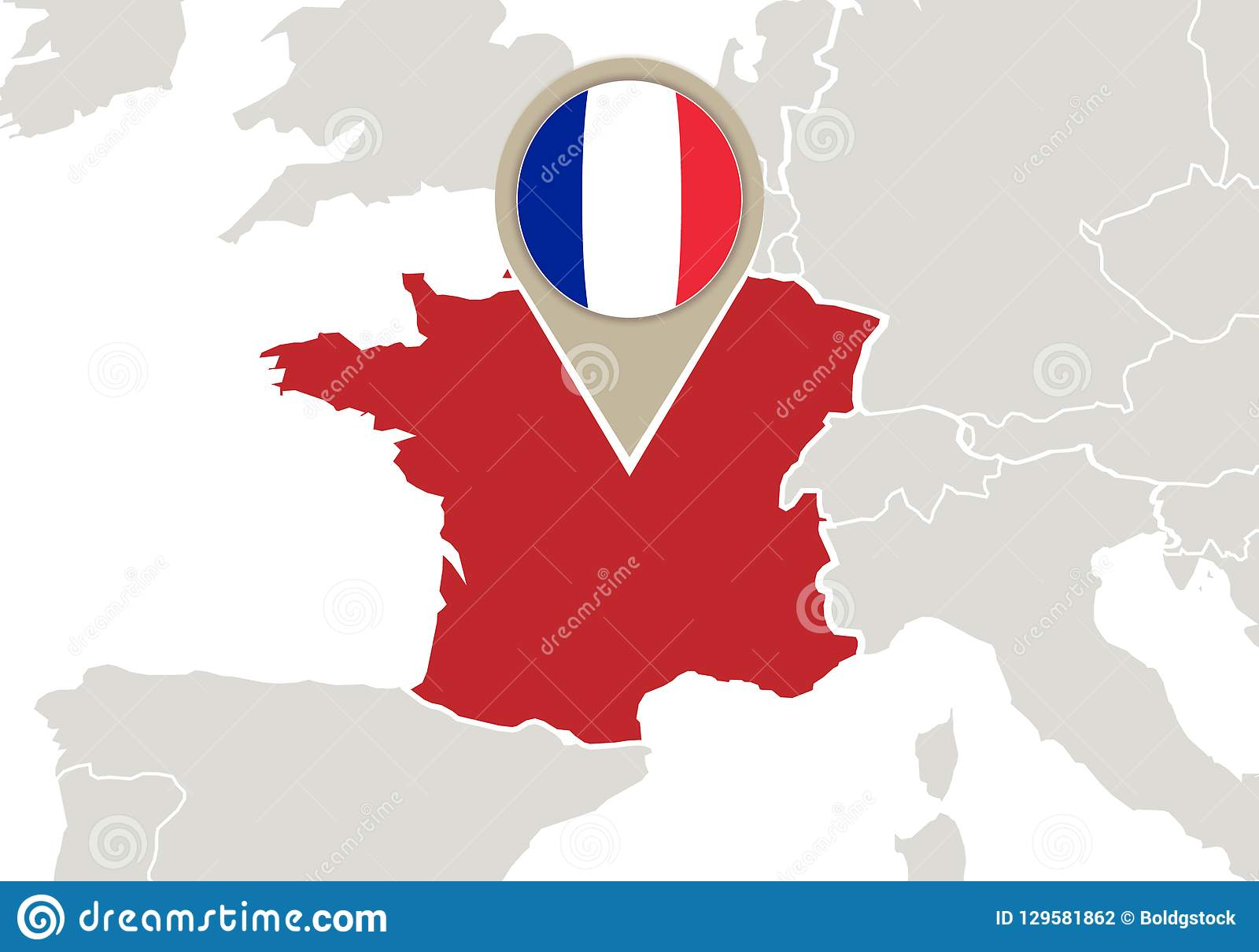 Map Of Europe With France Highlighted.France On Europe Map Stock Vector Illustration Of France