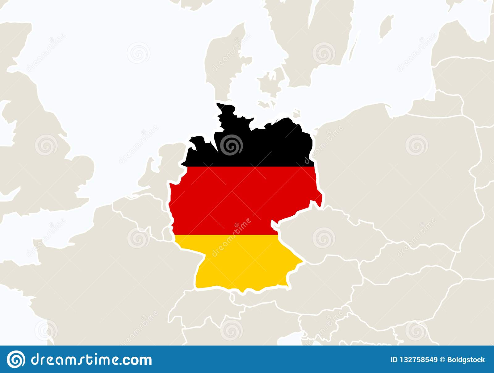 Map Of Europe With Germany Highlighted.Europe With Highlighted Germany Map Stock Vector Illustration Of