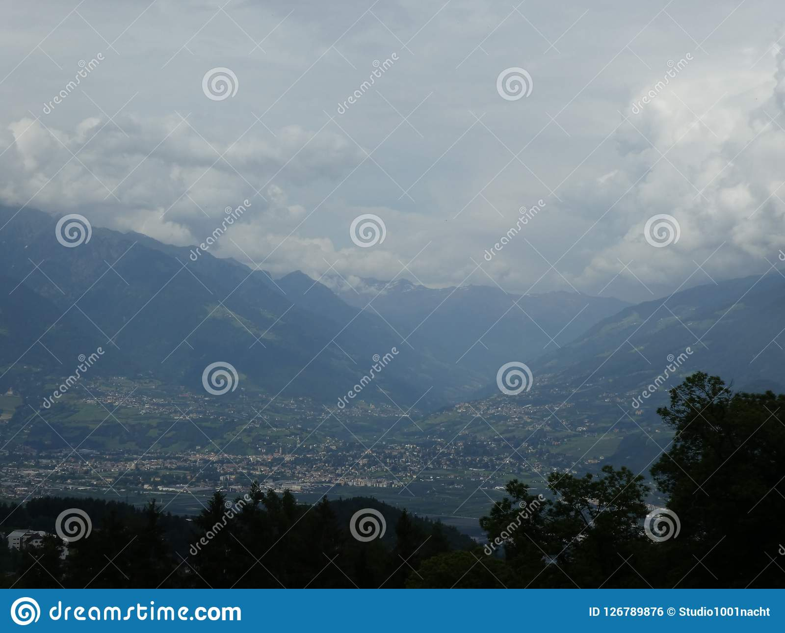 Summit rock panorama landscape of the mountains in south tyrol italy europe. Europe italy south tyrol nature wild sky Clouds summit rock Panorama landscape Royalty Free Stock Image