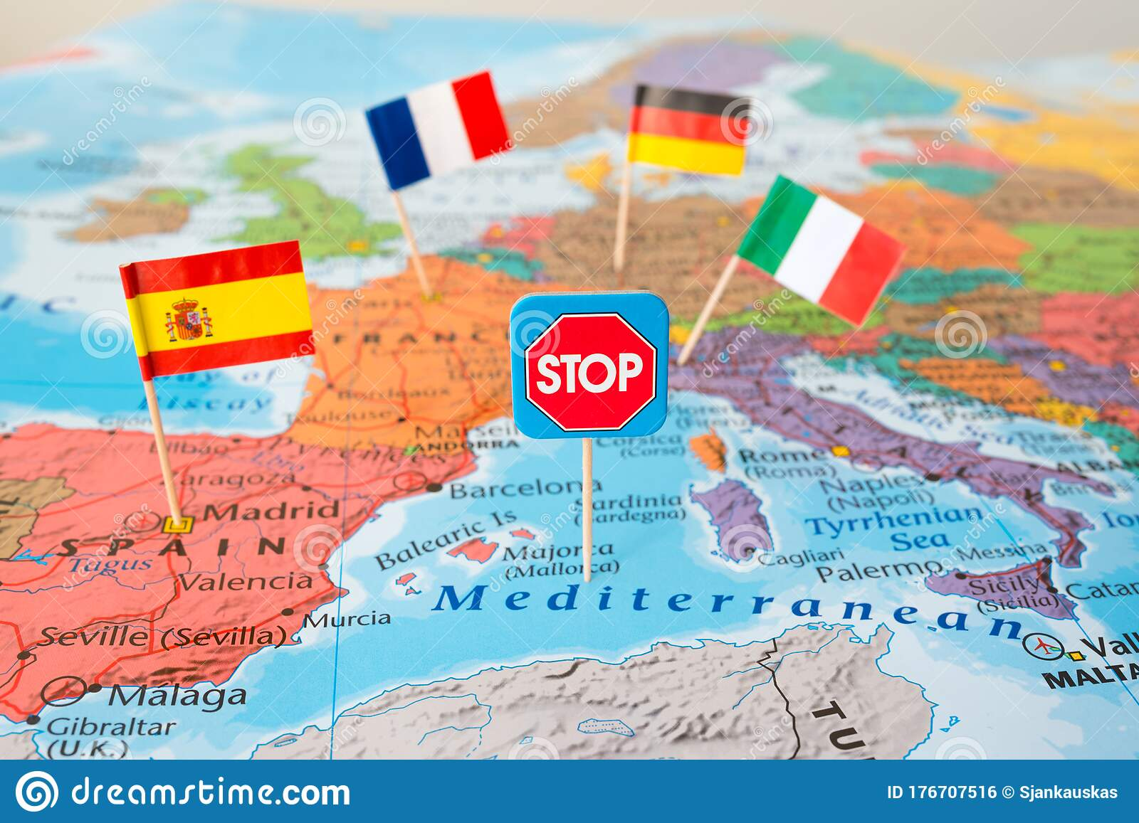 Image of: Europe Lockdown Concept Image Stop Coronavirus Flags Of Italy Germany France Spain On Map Travel Restrictions Border Shutdown Stock Photo Image Of Goal Detail 176707516