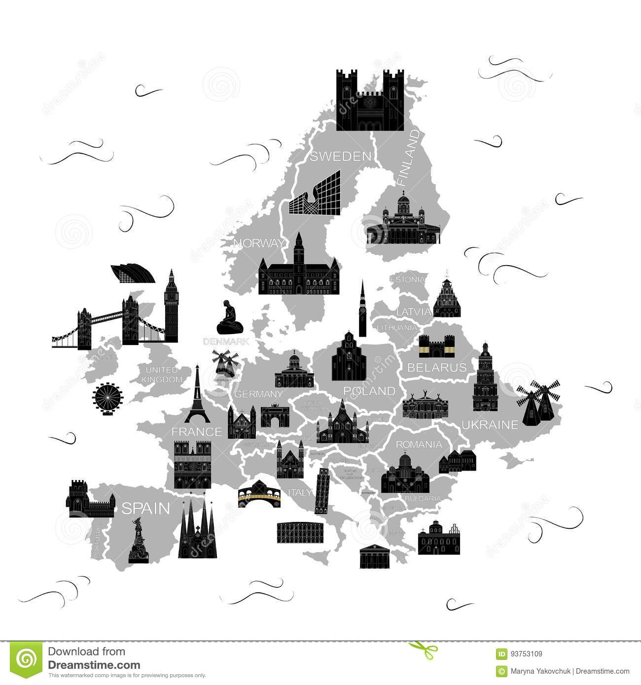 The Europe Map Black Stock Vector Illustration Of Latvia 93753109