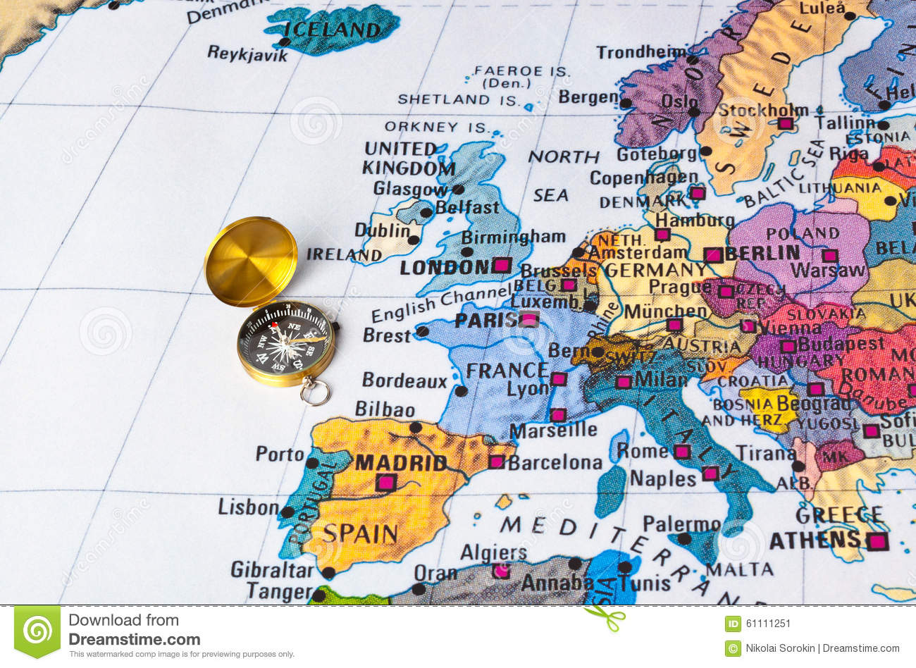 Europe Map And Compass Photo Image 61111251 – Travel Maps Europe