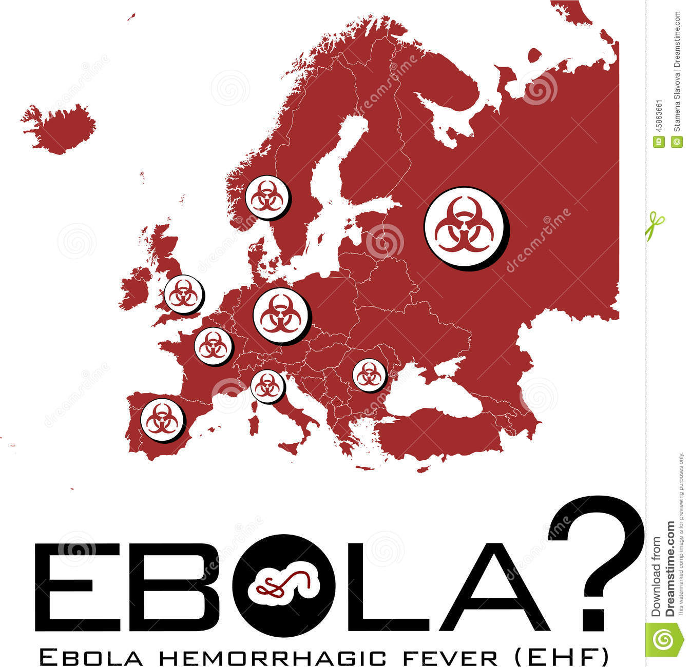 Europe Map With Ebola Text And Biohazard Symbol Stock Vector