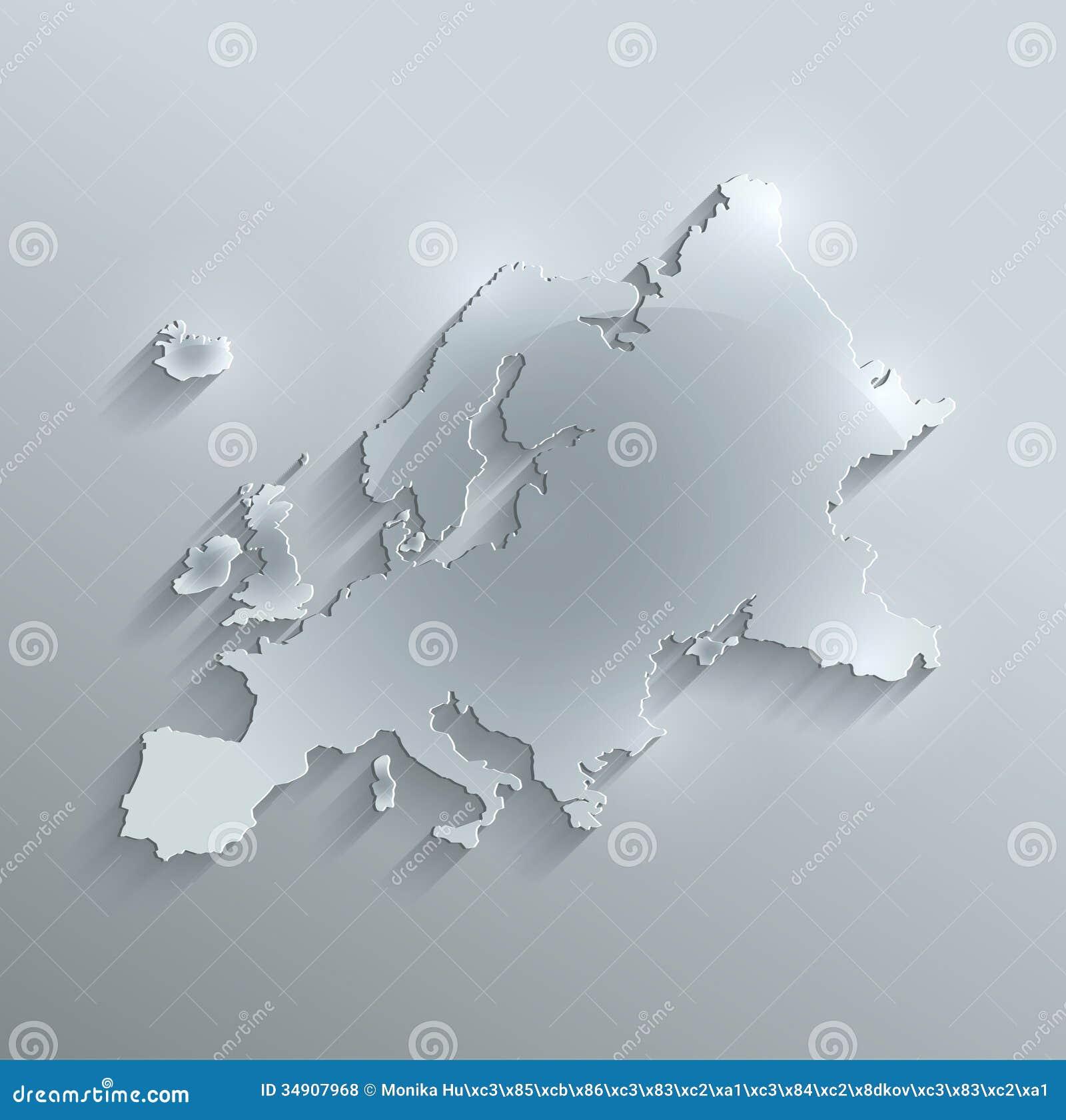 europe map glass card paper 3d stock illustration illustration of