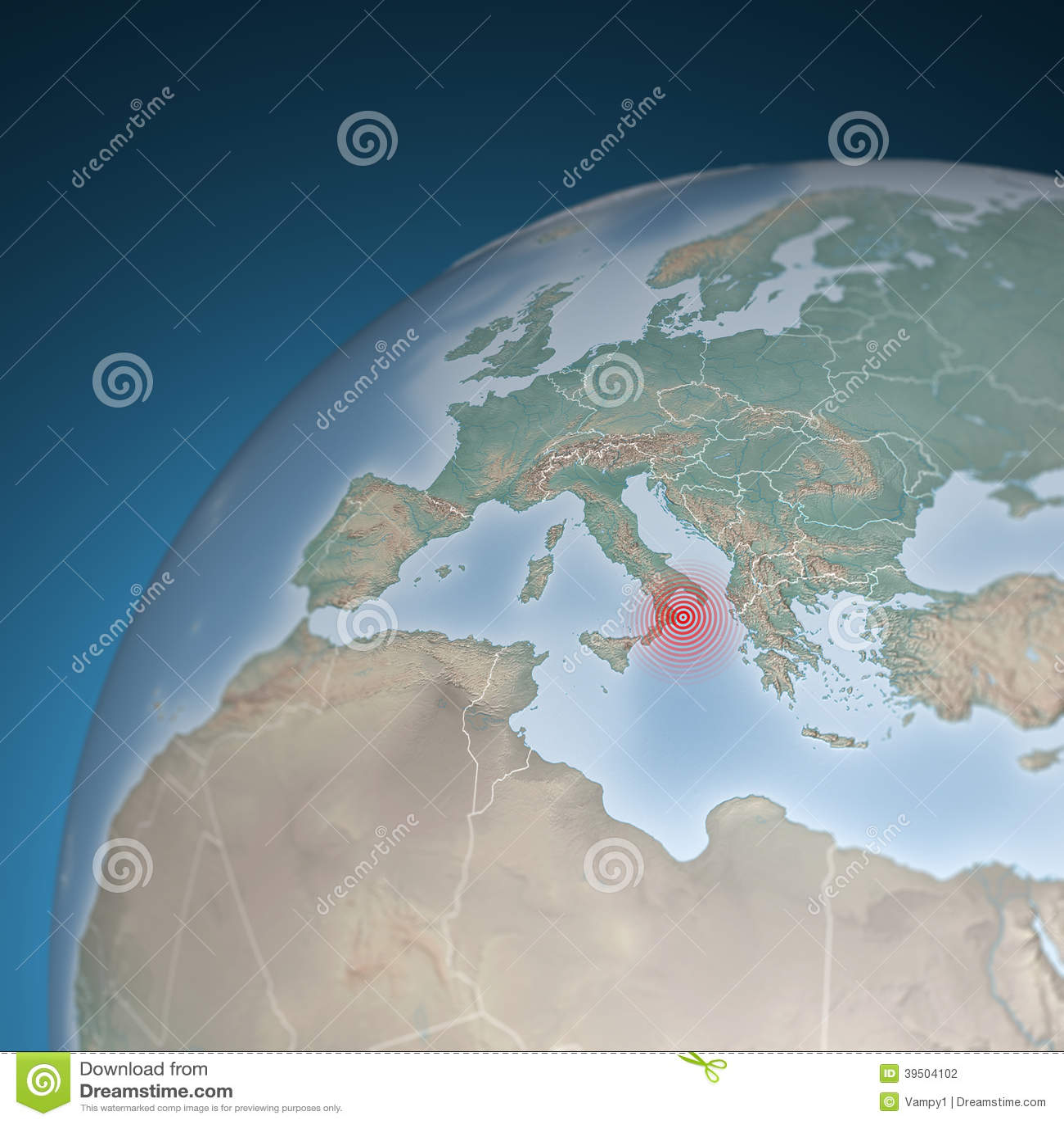 Europe map, Italy, earthquake shock
