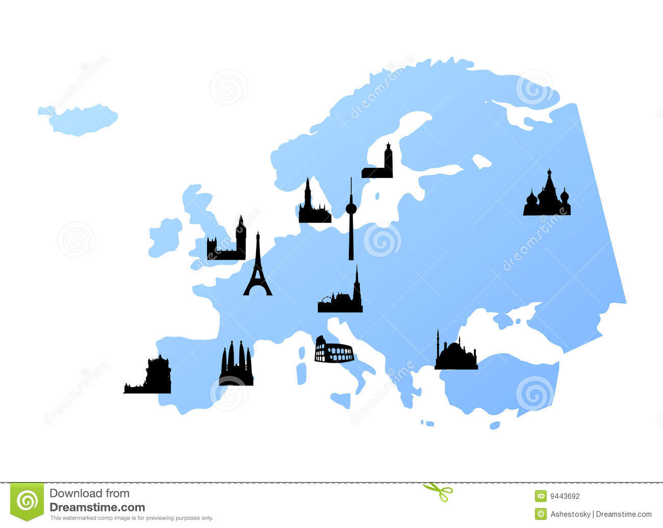 Europe Map With Landmarks Stock Photography - Image: 9443692
