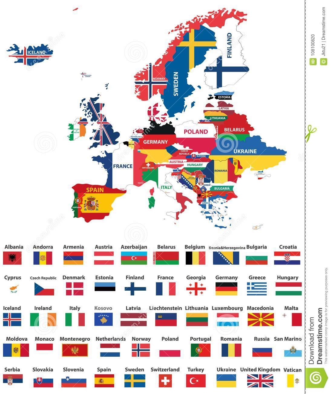 Europe Flag Map Europe Map Mixed With Countries National Flags. All European Flags