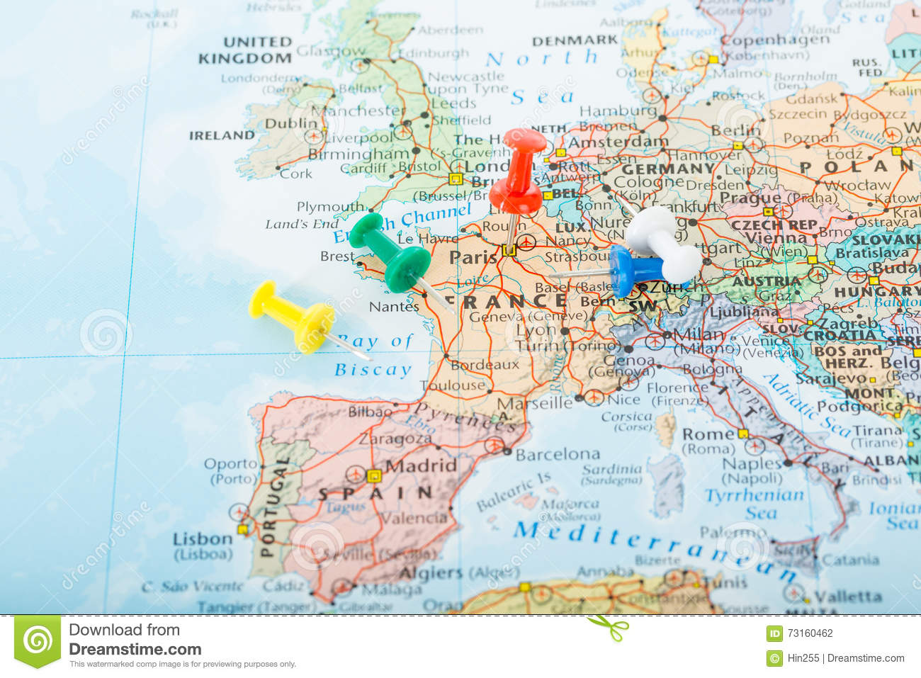 Europe Map Pins Travel Stock Photo Image Of Country - Map and pins for travelers