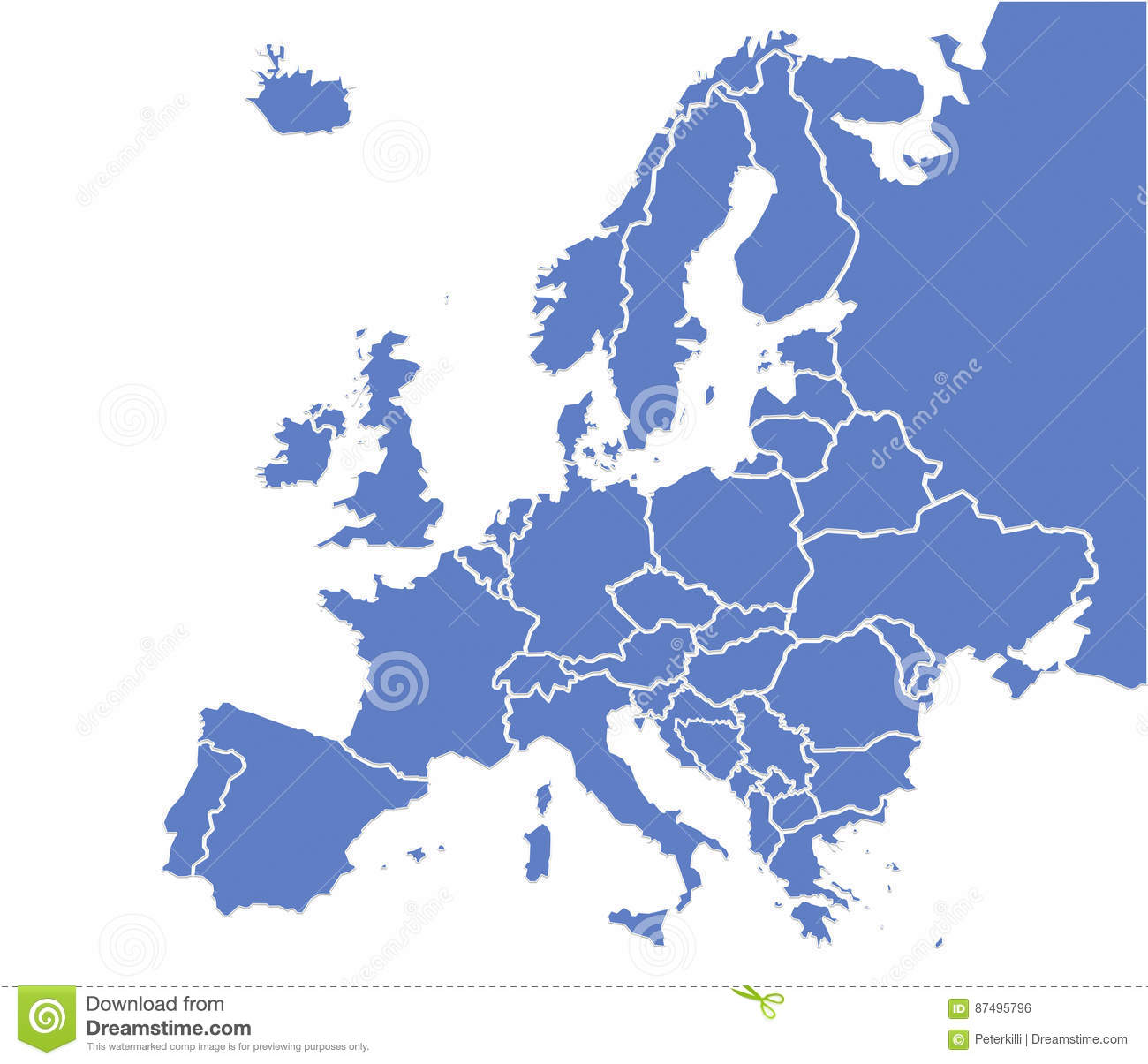 Europe Map Stock Illustration Illustration Of Denmark 87495796