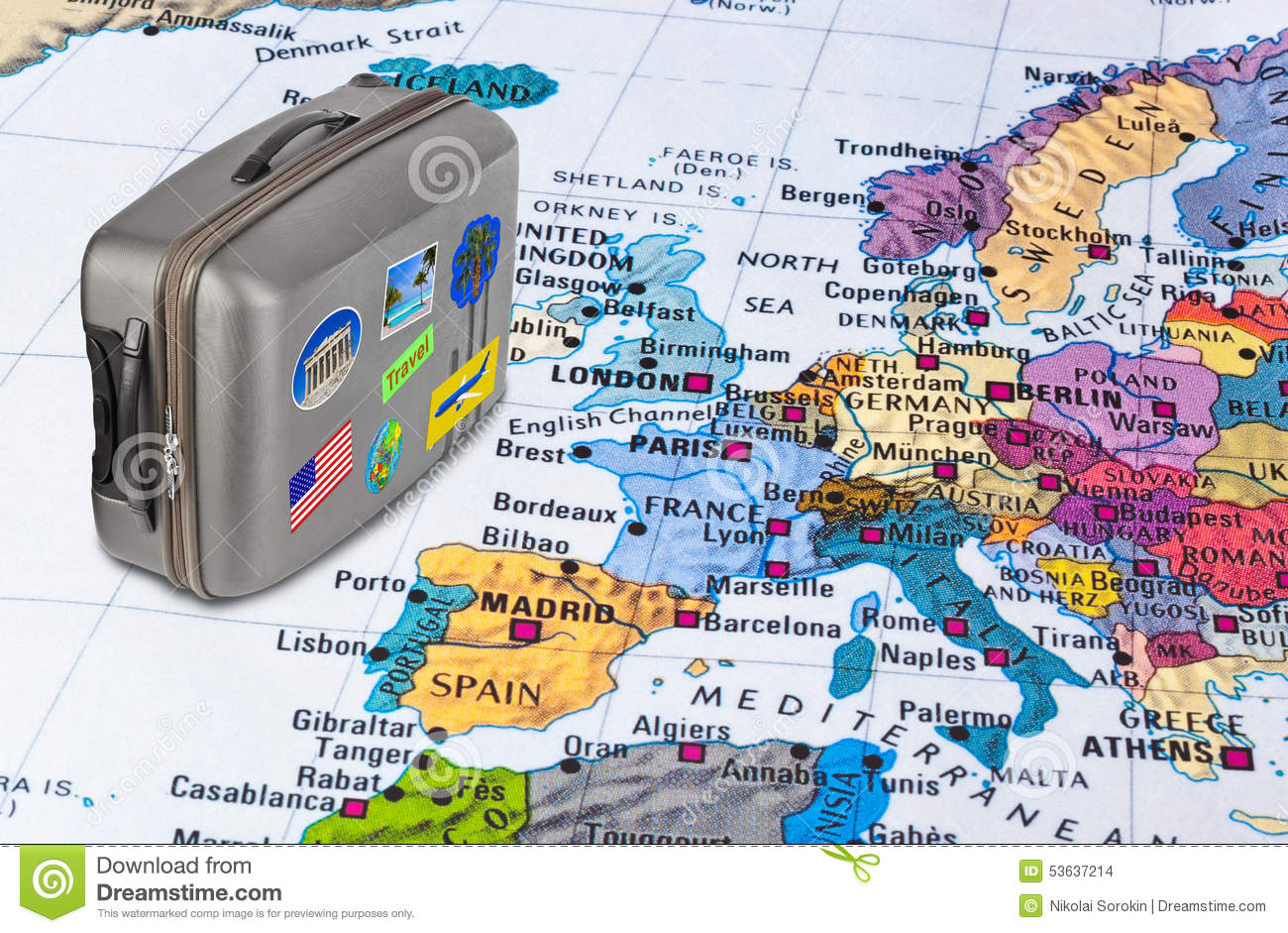 Europe Map And Travel Case With Stickers my Photos Photo – Europe Map For Travel