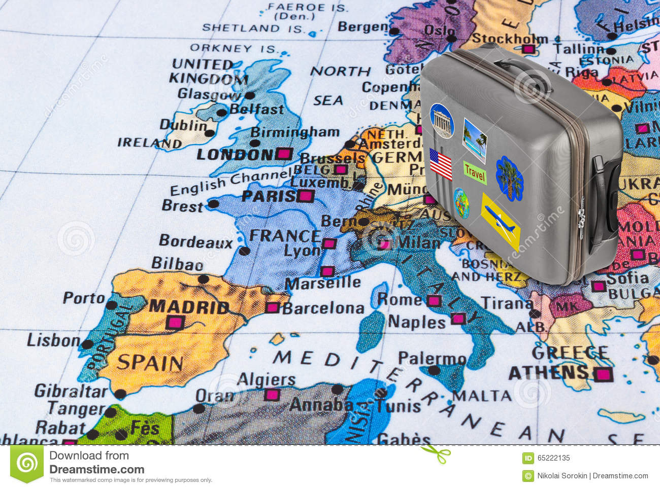 Europe Map And Travel Case With Stickers my Photos Photo – Travel Map Of Europe