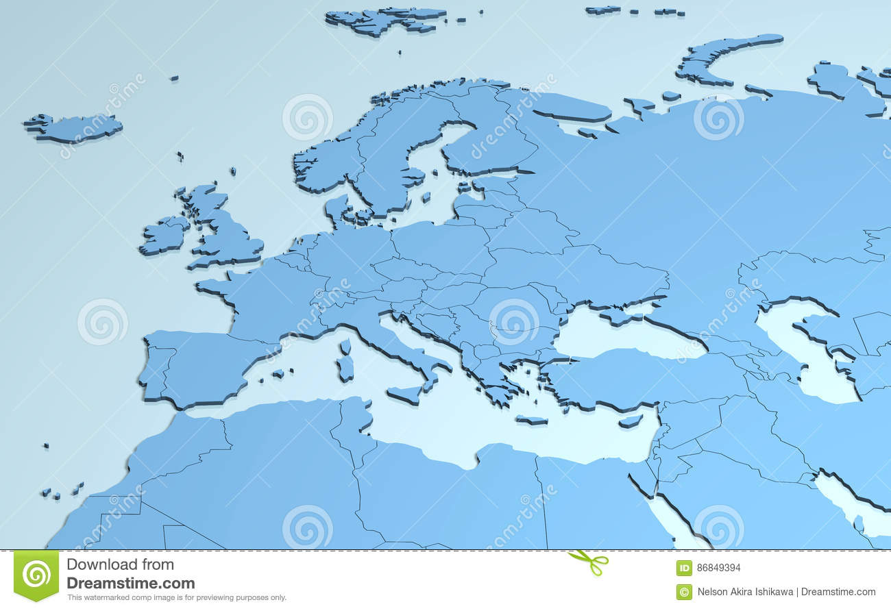 Map Of Europe And Middle East Countries.Europe Middle East Africa 3d Stock Illustration Illustration Of