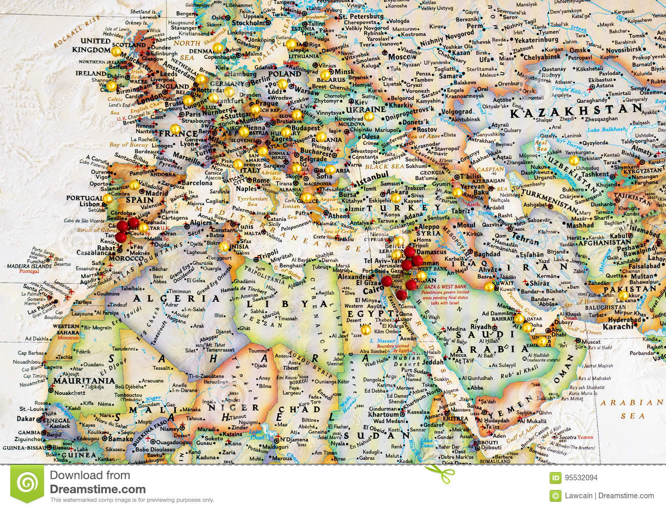 Europe & Middle East Map With Map Tacks Stock Photo - Image of ...