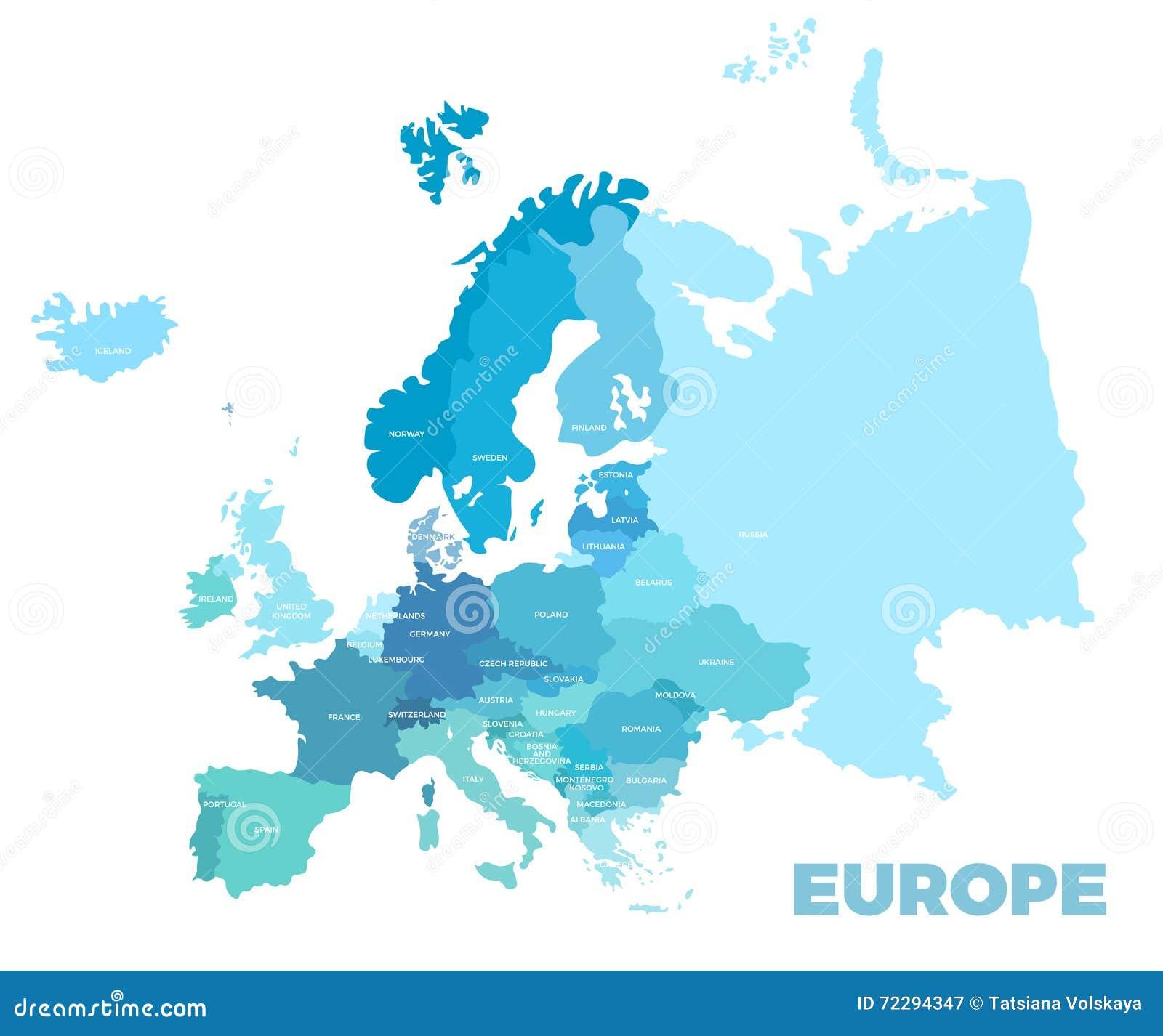 Europe modern detailed map stock vector. Illustration of ...