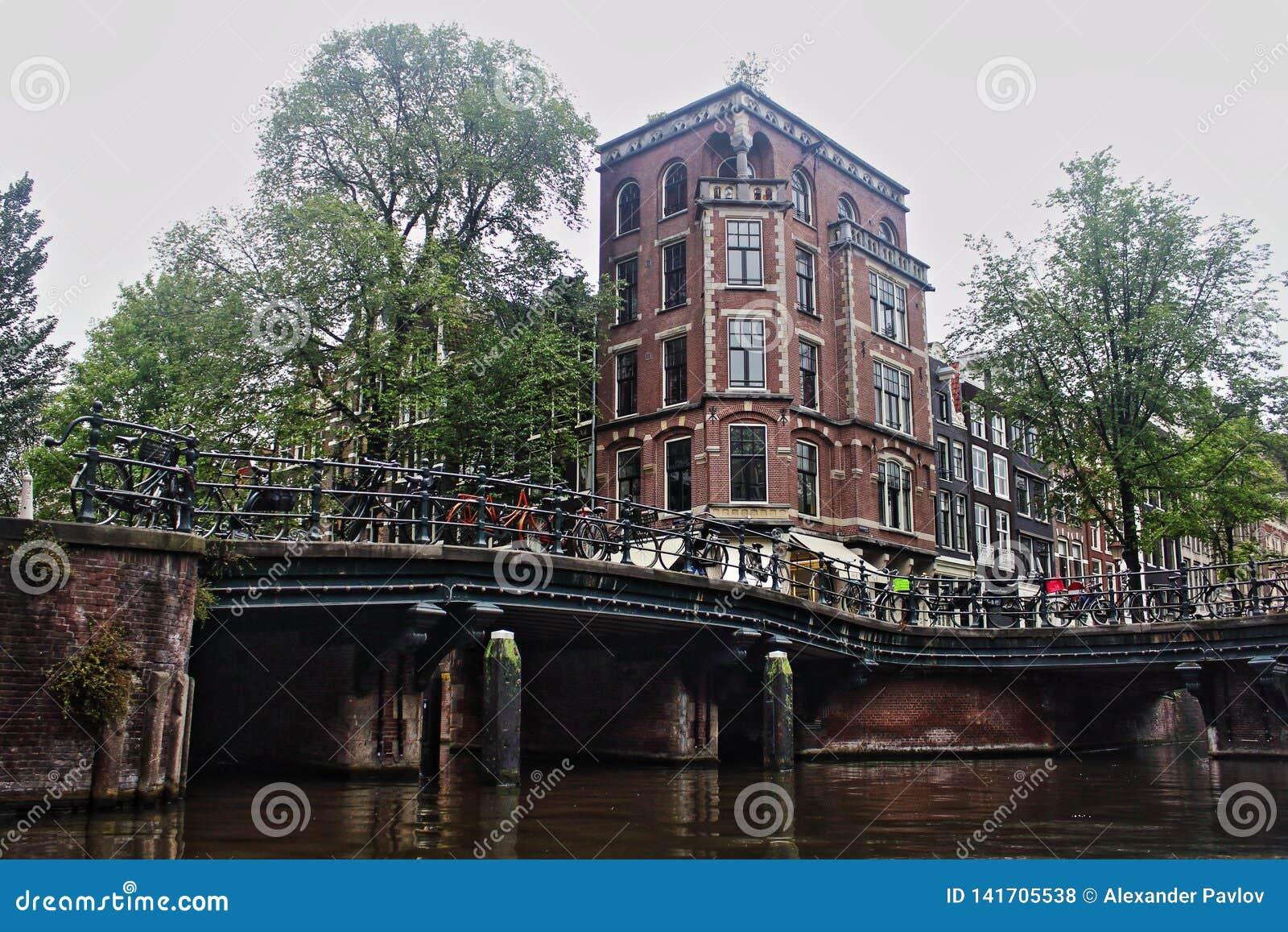 Netherlands. Amsterdam cityscape riverside view.