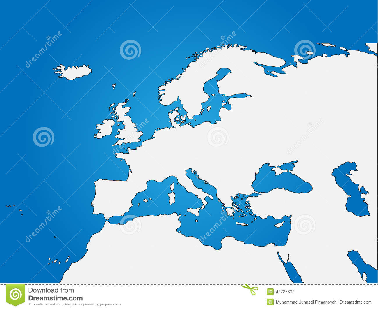 Europe & North Africa blind map, easy to edit and change colour. EPS ...