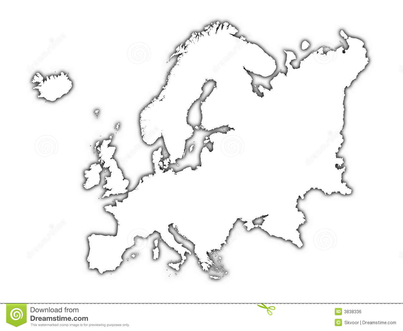 Picture of: Europe Outline Map With Shadow Stock Illustration Illustration Of Digital Borders 3838336