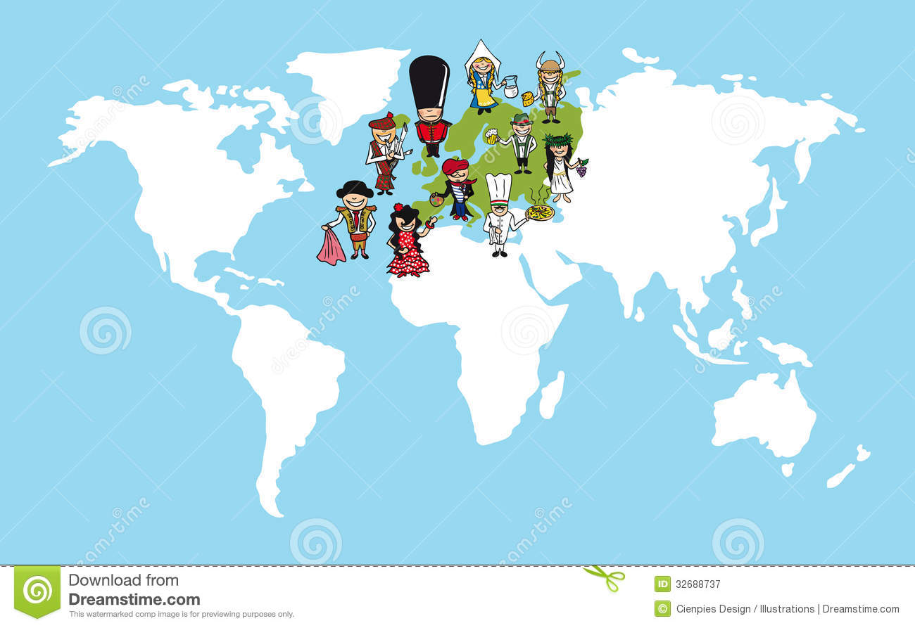 Europe People Cartoons World Map Diversity Illustr Royalty Free – Map of the European Continent
