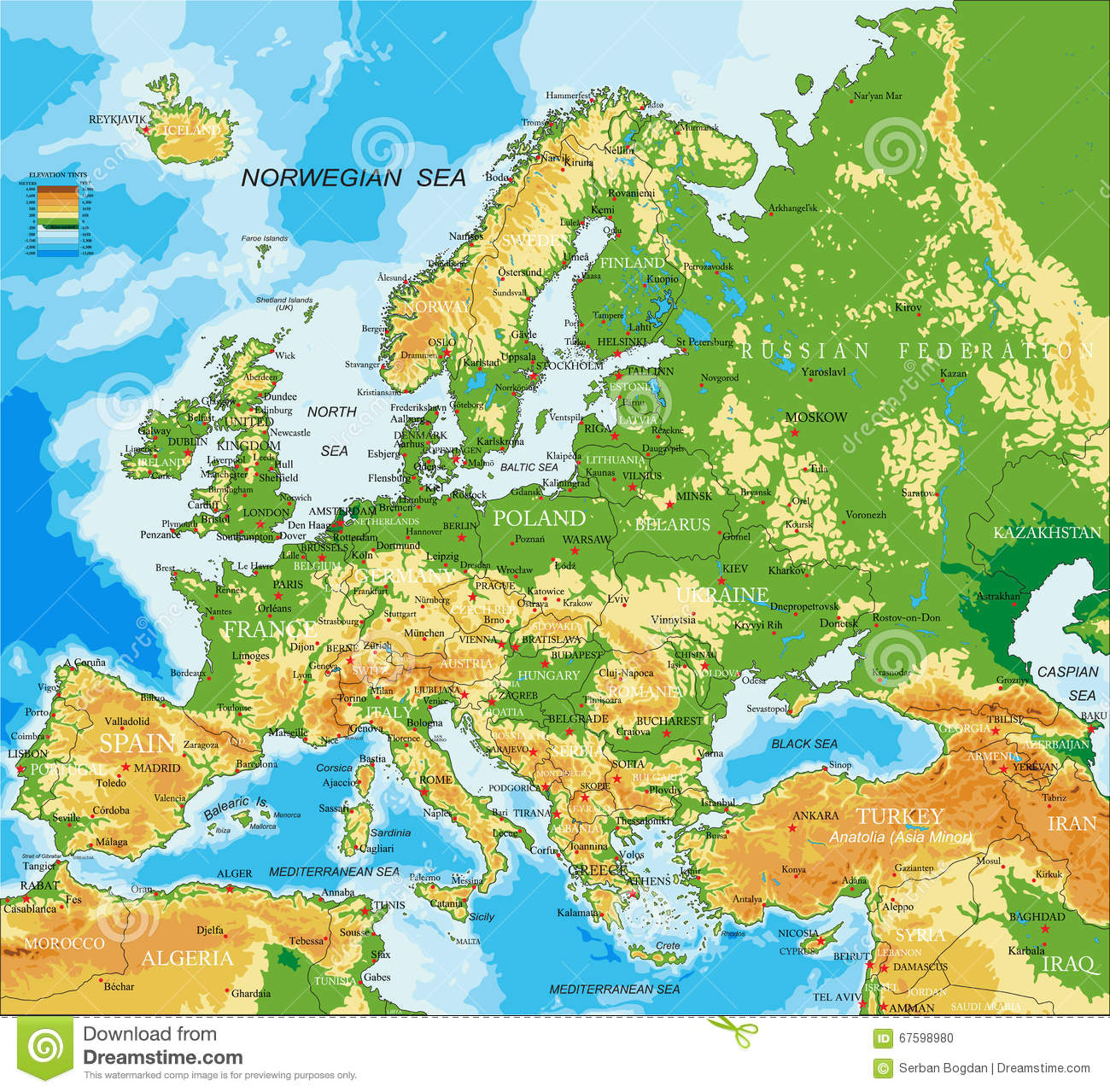 Europe Physical Map Stock Vector Image Of Finland - Europe physical map
