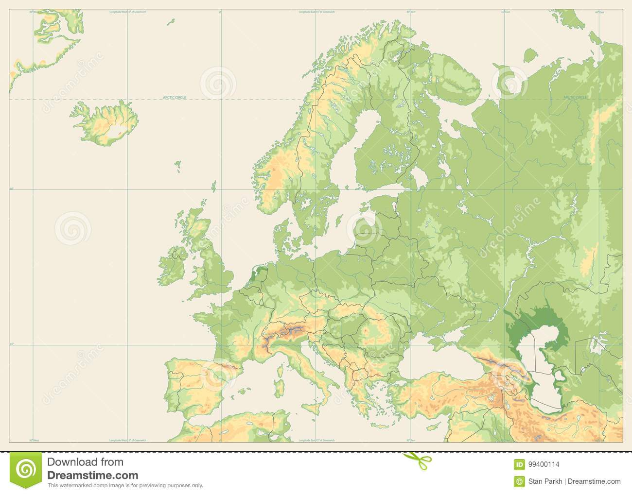 Europe Physical Map Isolated On Retro White. No Text Stock Vector ...