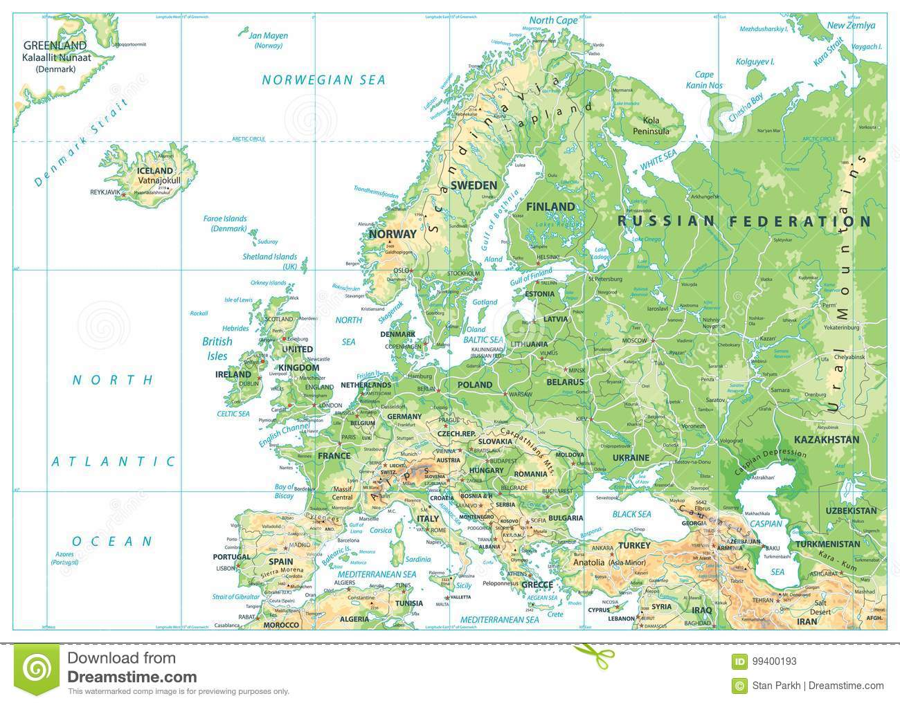 Europe Physical Map Isolated On White Stock Vector - Illustration of ...