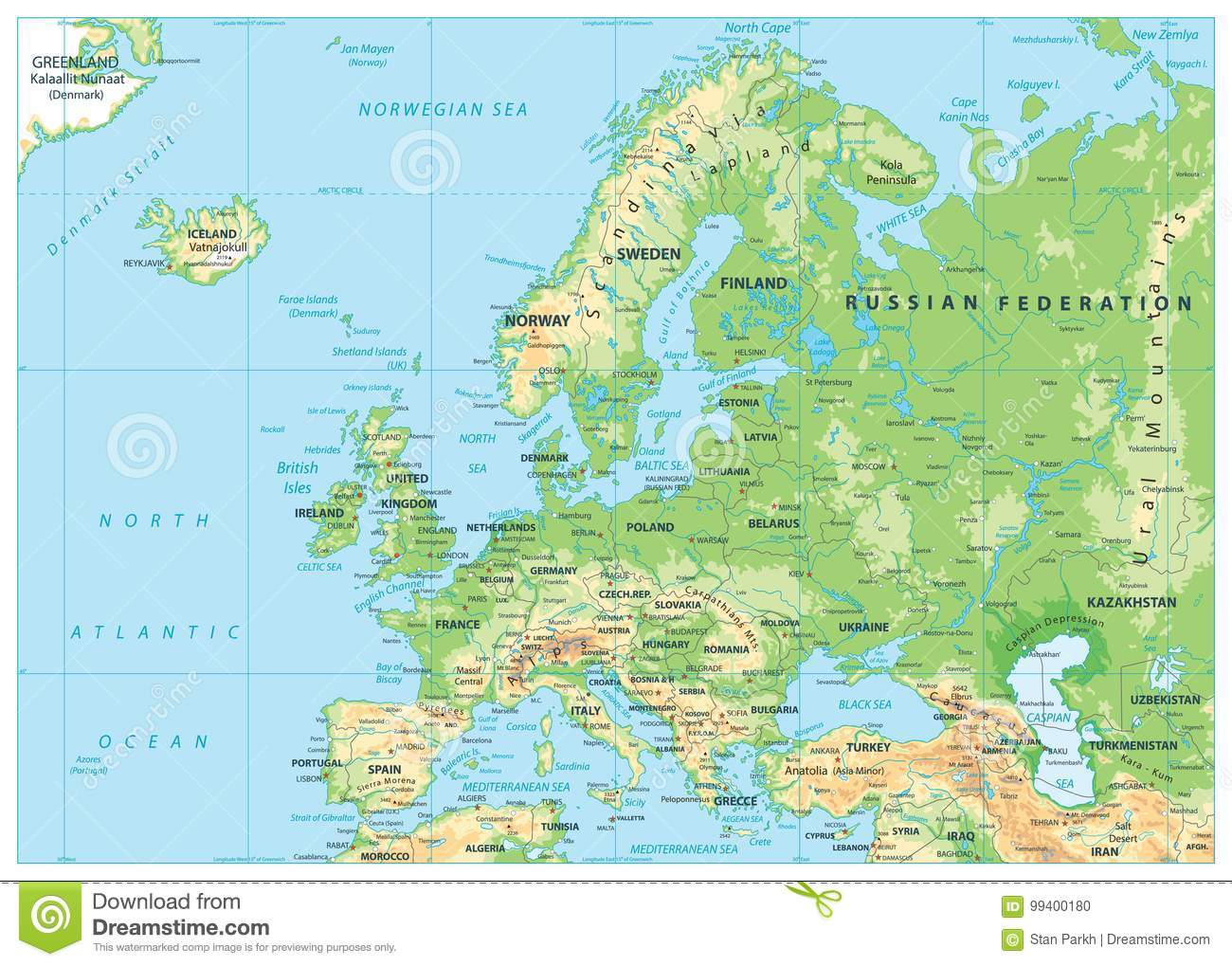 Europe Physical Map. No Bathymetry Stock Vector ...