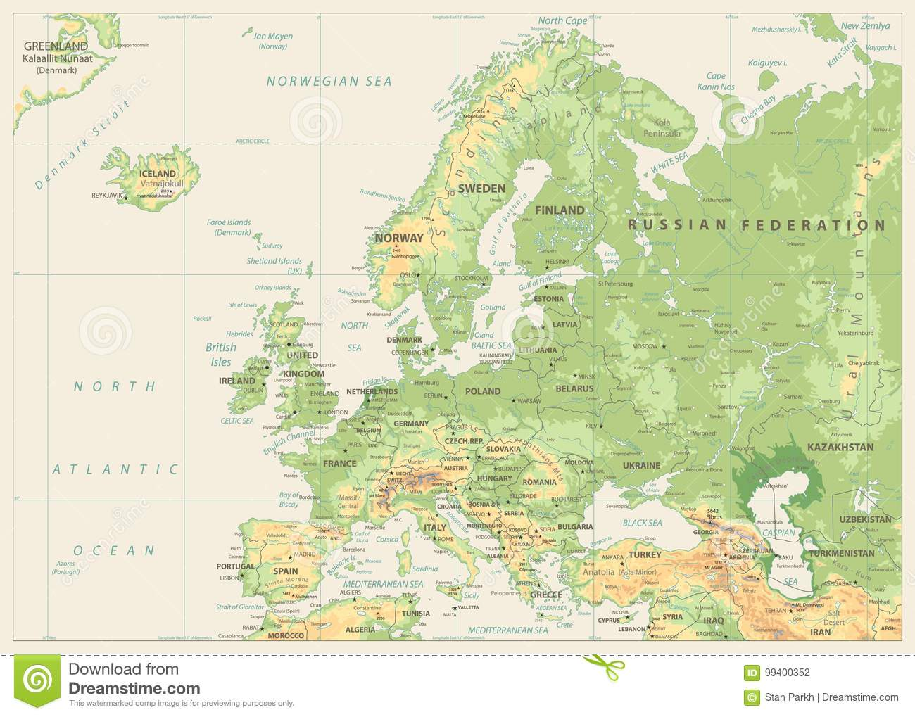 Europe Physical Map Retro Colors No Bathymetry Stock Vector - Europe physical map
