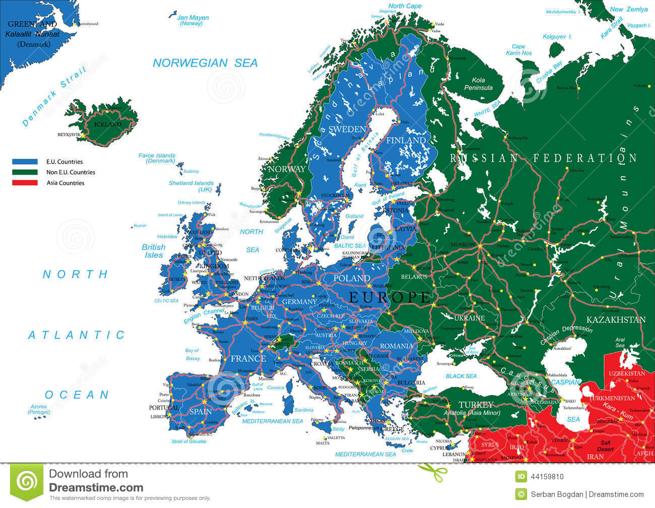 Europe Road Map Vector Image 44159810 – Detailed Travel Map Of Europe