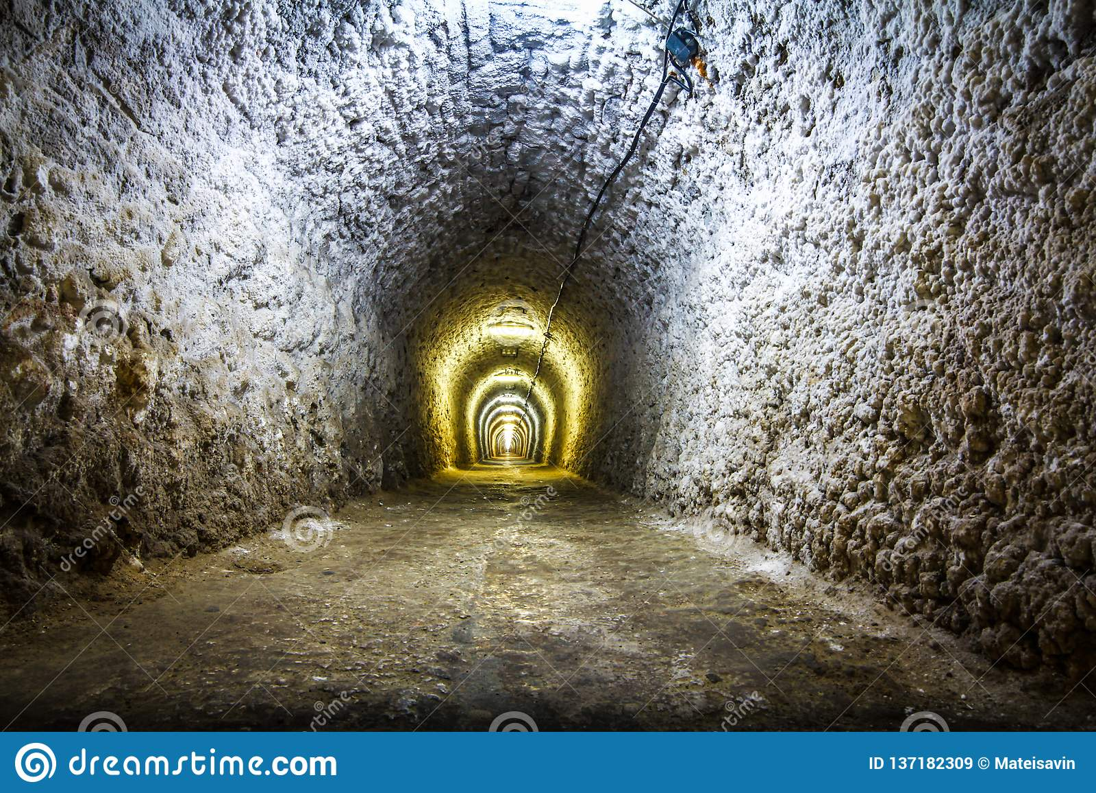 Lights in a mine salt tunnel
