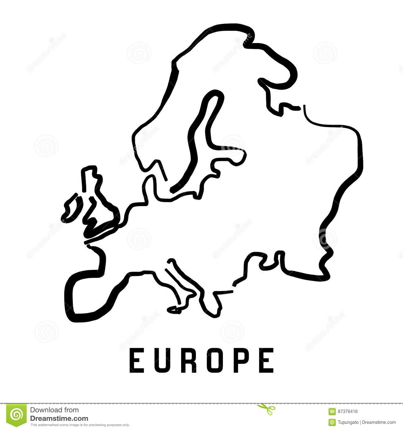 Europe Simple Outline Stock Vector Illustration Of Handwritten