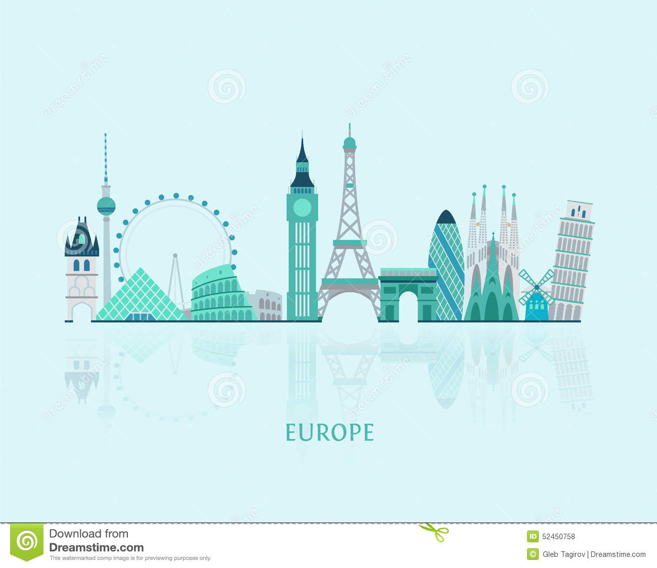 Europe Skyline Silhouette Stock Vector Image 52450758
