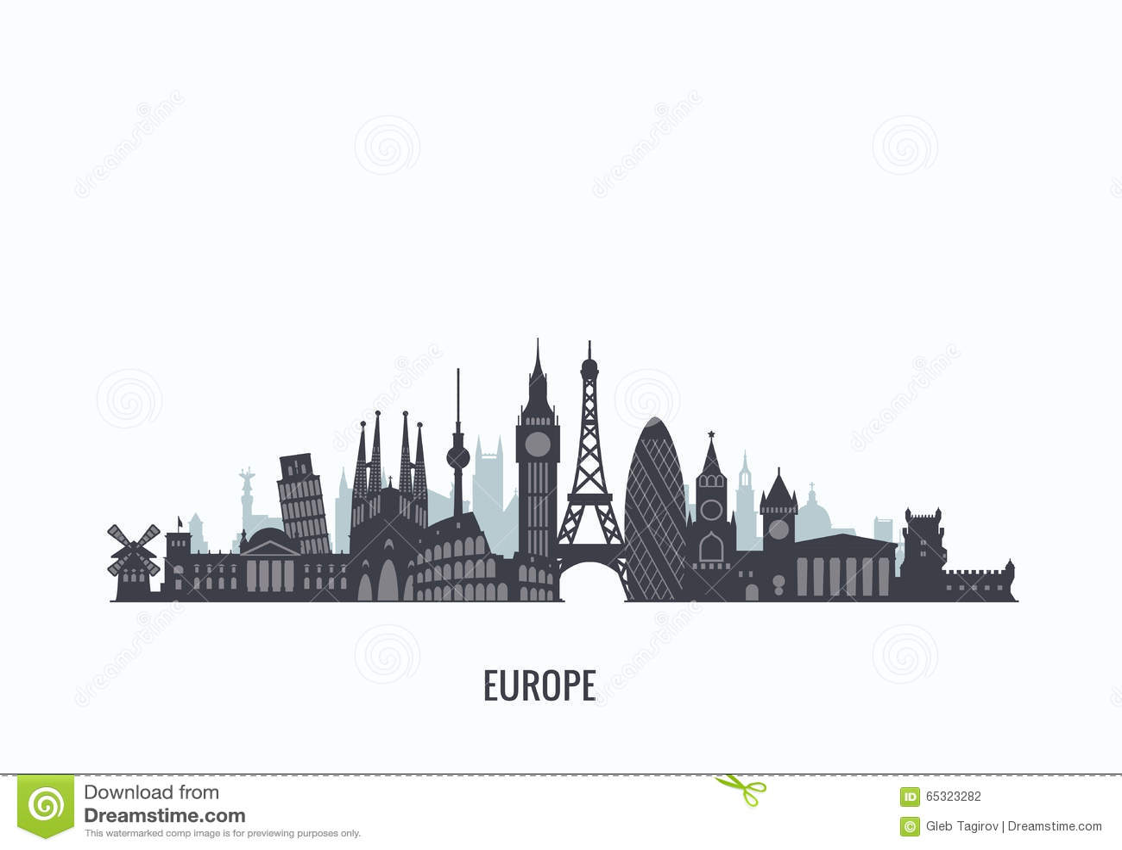 Europe Skyline Silhouette. Stock Vector - Image: 65323282