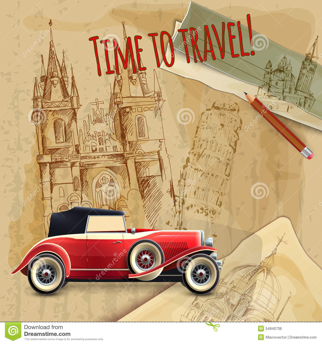 europe travel car vintage poster stock vector image 54940736. Black Bedroom Furniture Sets. Home Design Ideas