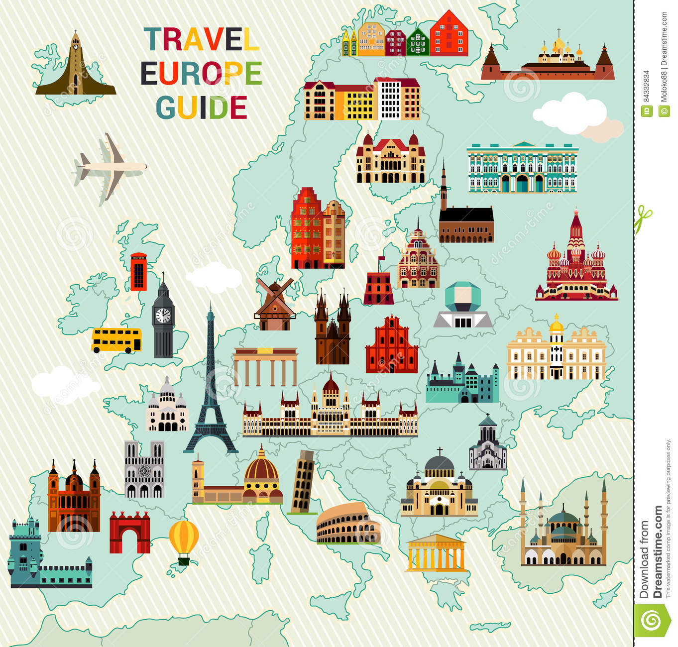 Europe Travel Map. stock vector. Illustration of ...