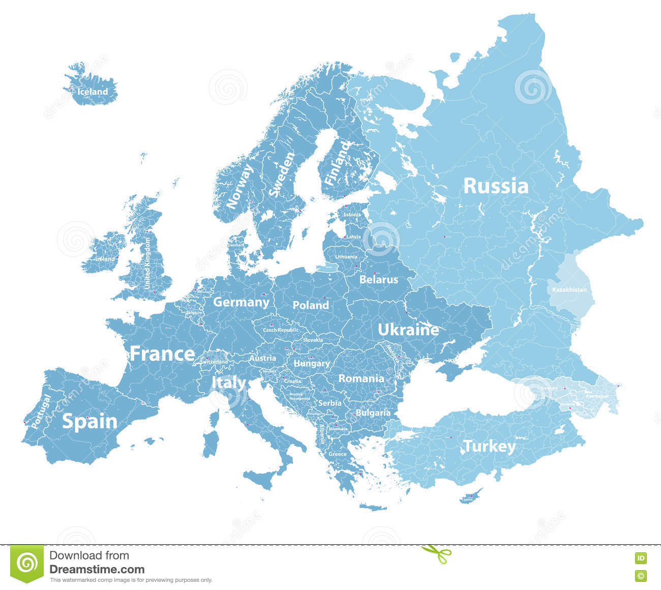 Europe Vector High Detailed Political Map With Regions Borders And - World political map with country names