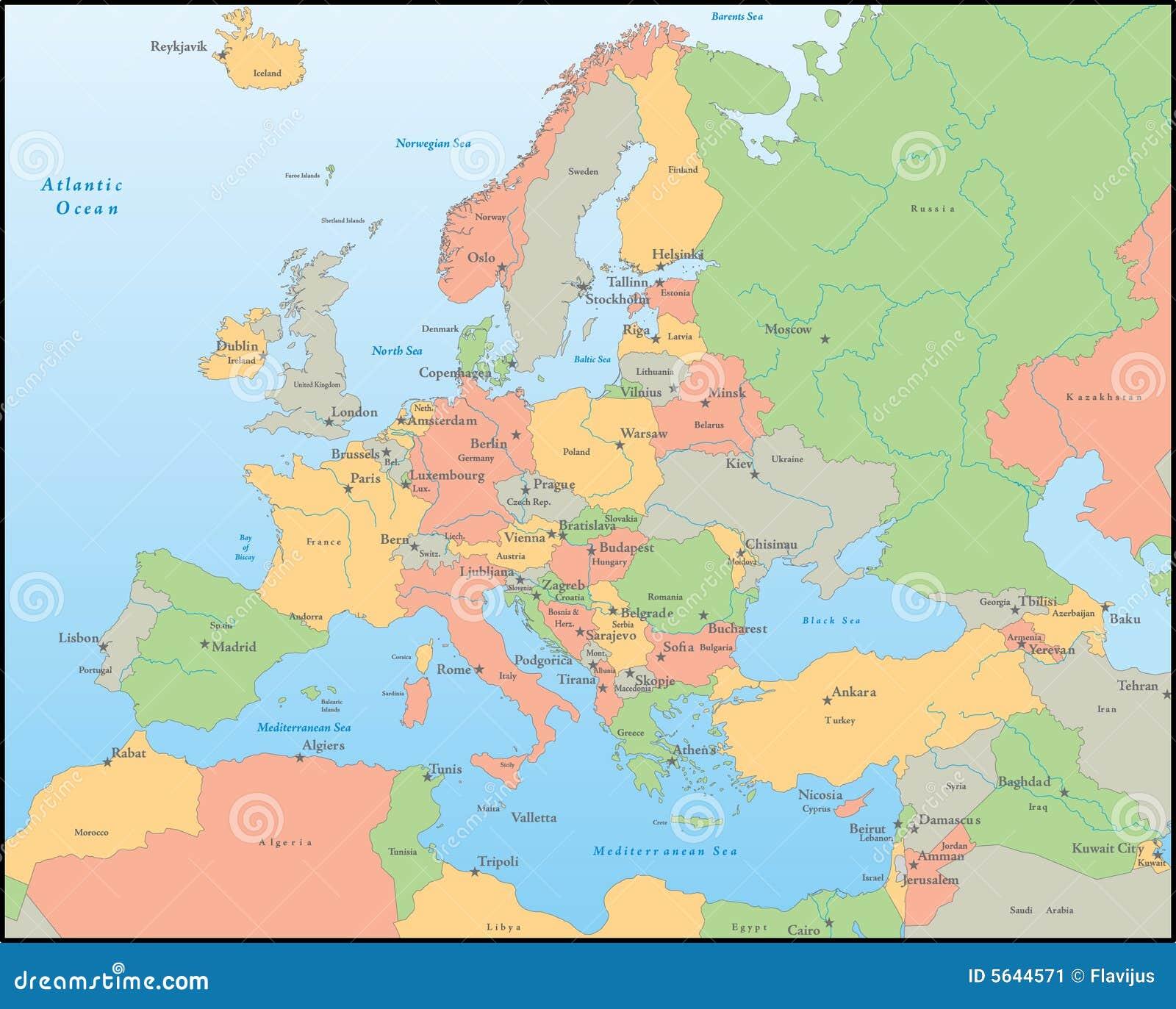 Europe Vector Map Stock Vector Illustration Of Latvia 5644571