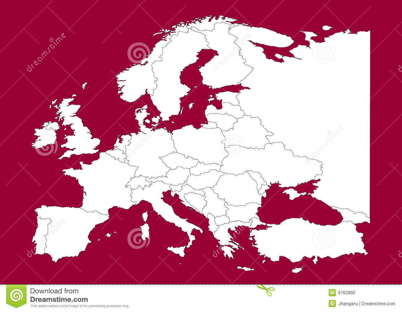 europe vectorial map on red stock photo