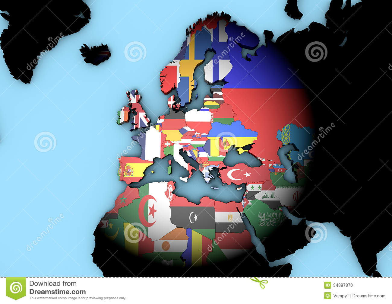 Europe world map with flags stock illustration illustration of europe world map with flags gumiabroncs Gallery