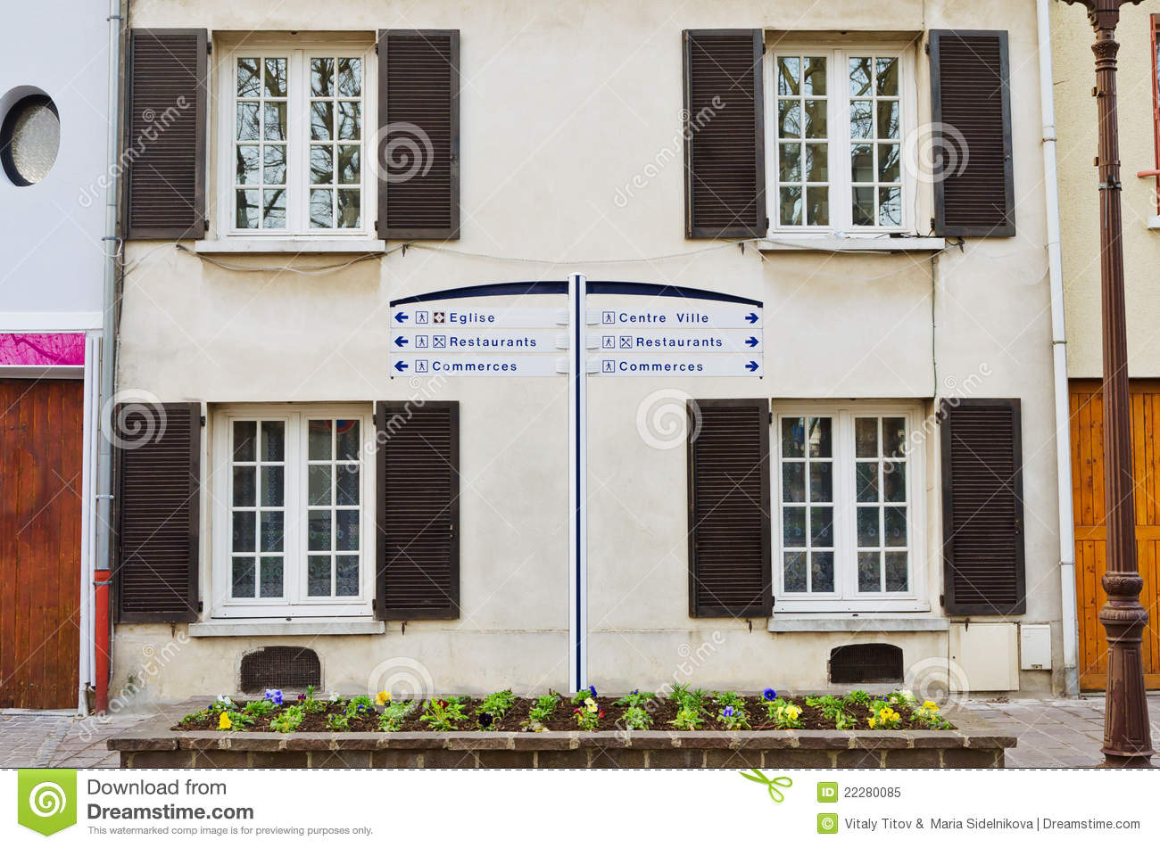 European apartment building with open shutters royalty for European shutters