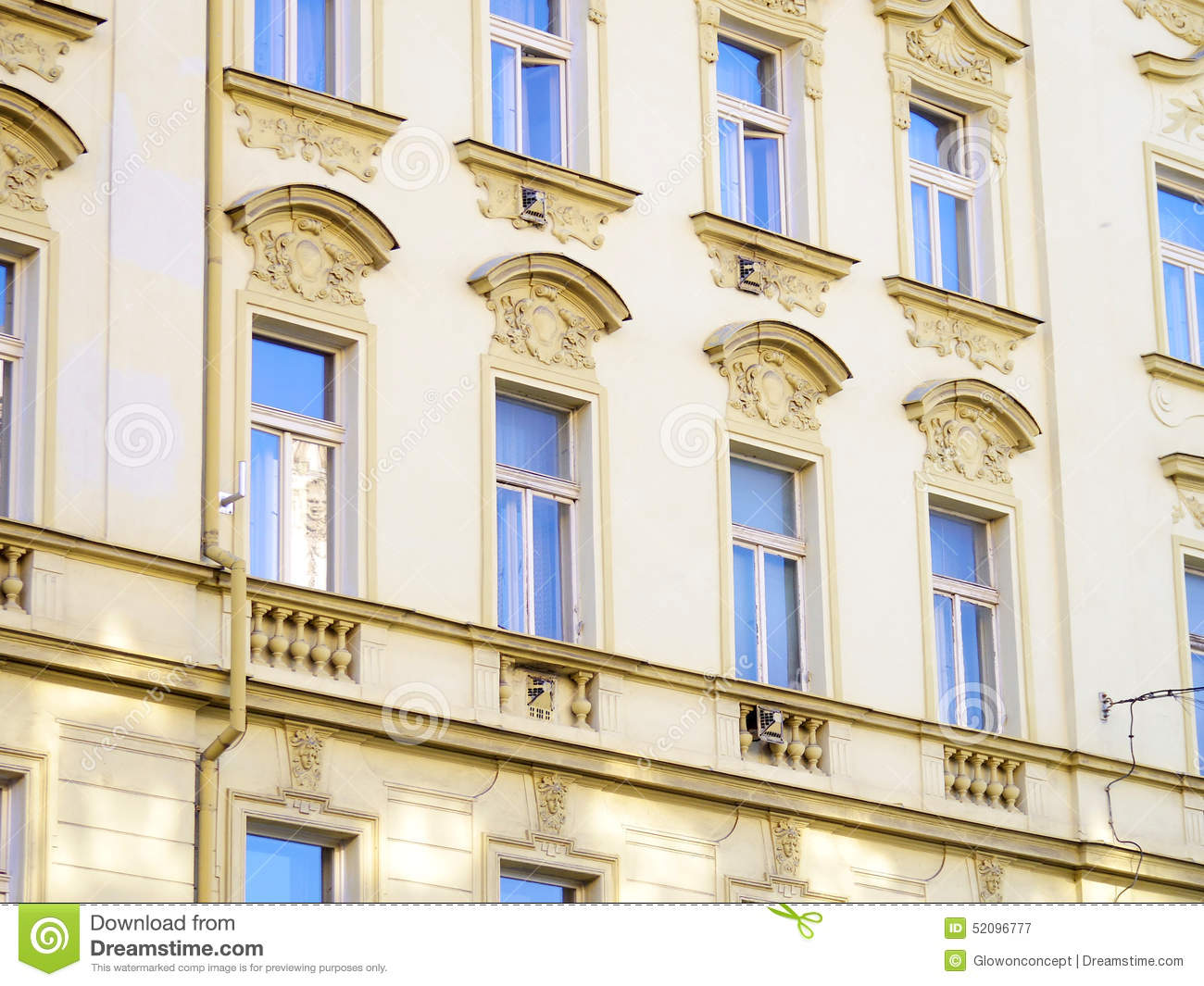 European apartment exterior facade detail blue sky reflective w stock photo image 52096777 - Reflective exterior paint style ...