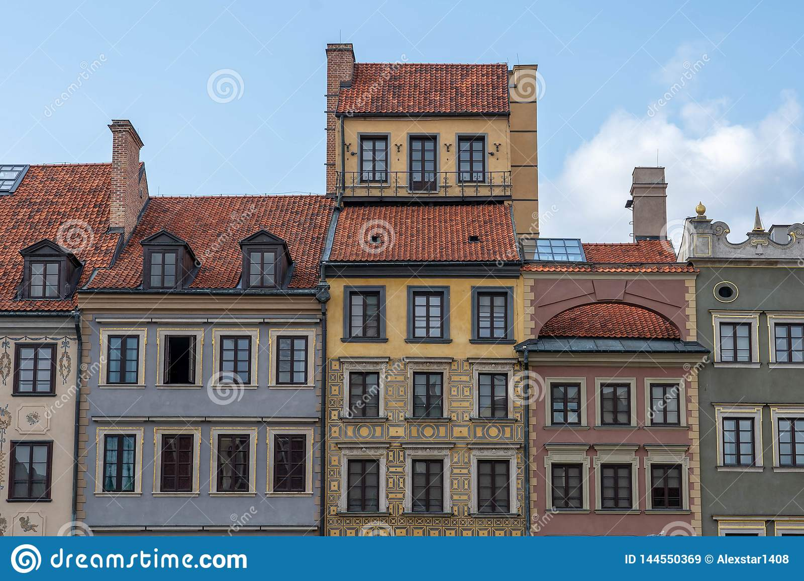 European Architecture. colorful buildings in the cloudy sky