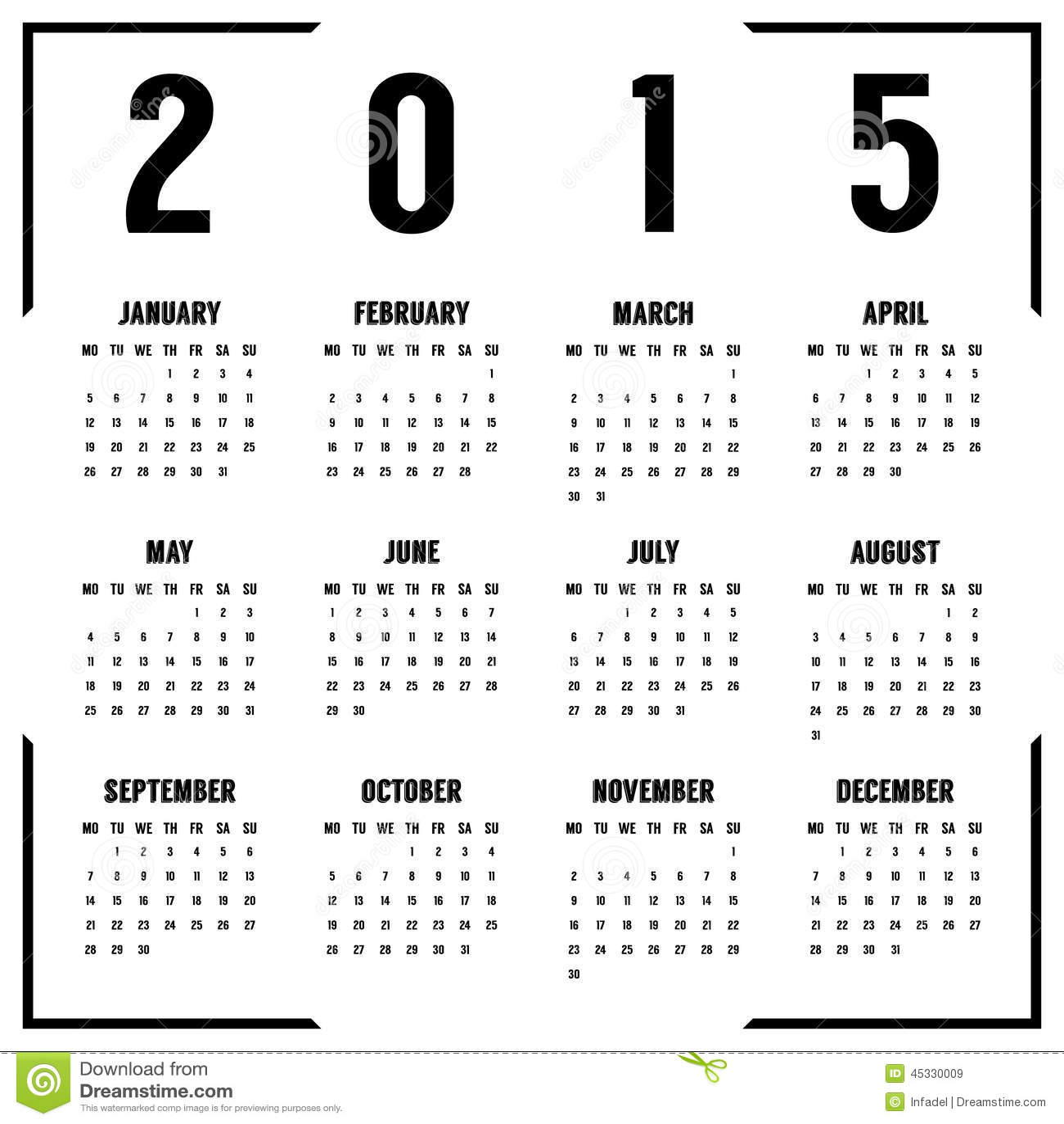 Calendar Black And White : European black and white year calendar stock vector