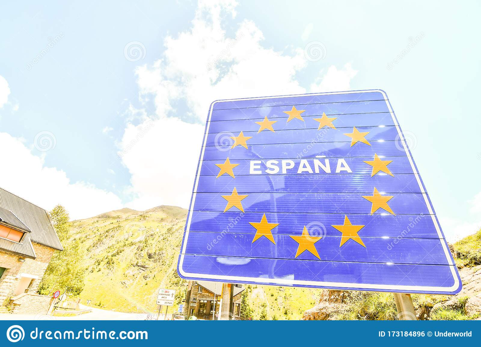 European Border Between Spain And France In The Pyrenees Mountains Andorra Road Sign Europe Editorial Photo Image Of Identification Isolated 173184896