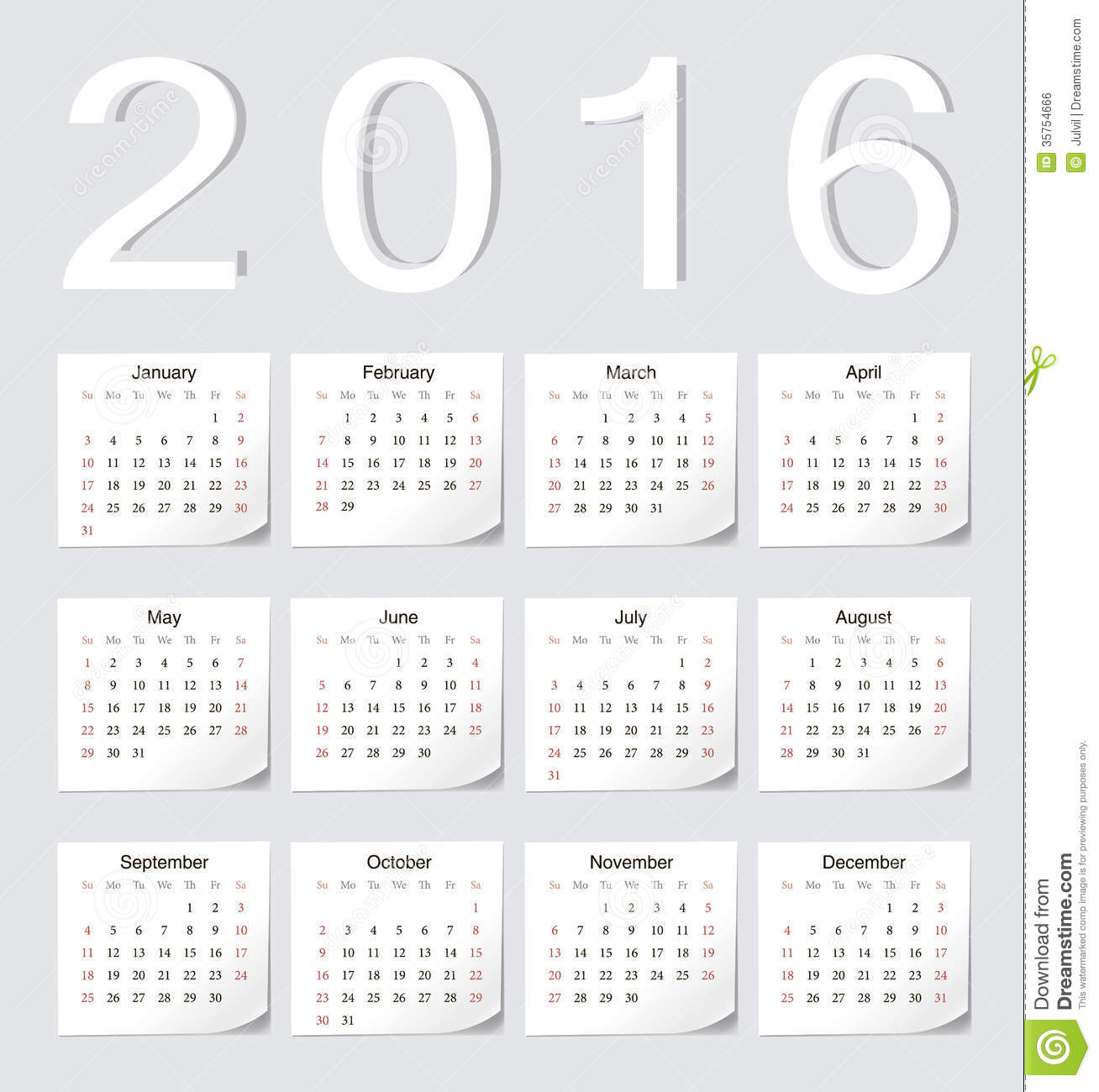 European 2016 vector calendar with shadow angles. Week starts from ...