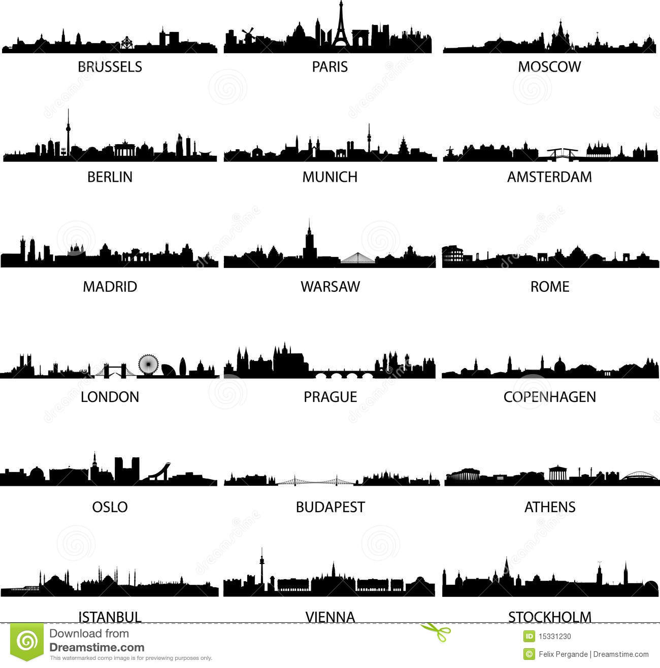 Download European cities stock vector. Illustration of downtown - 15331230
