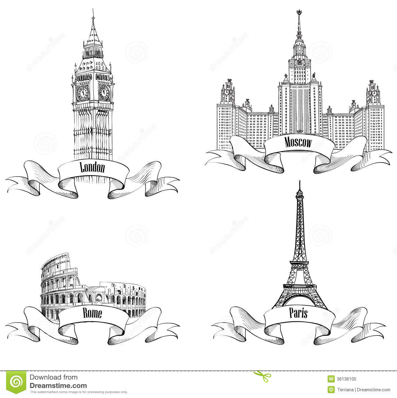 European Cities Symbols Sketch Collection: Paris, London