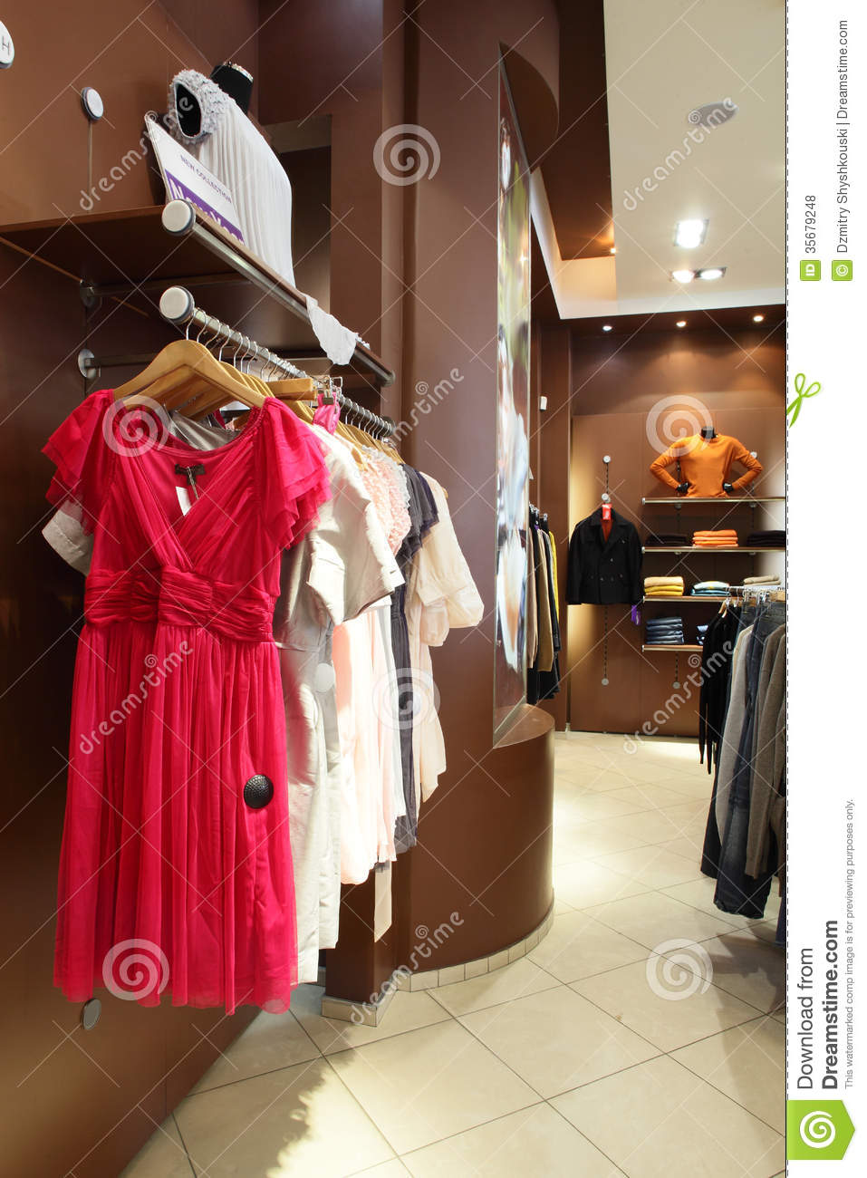 Stock Photo - european clothing store interior in modern mall